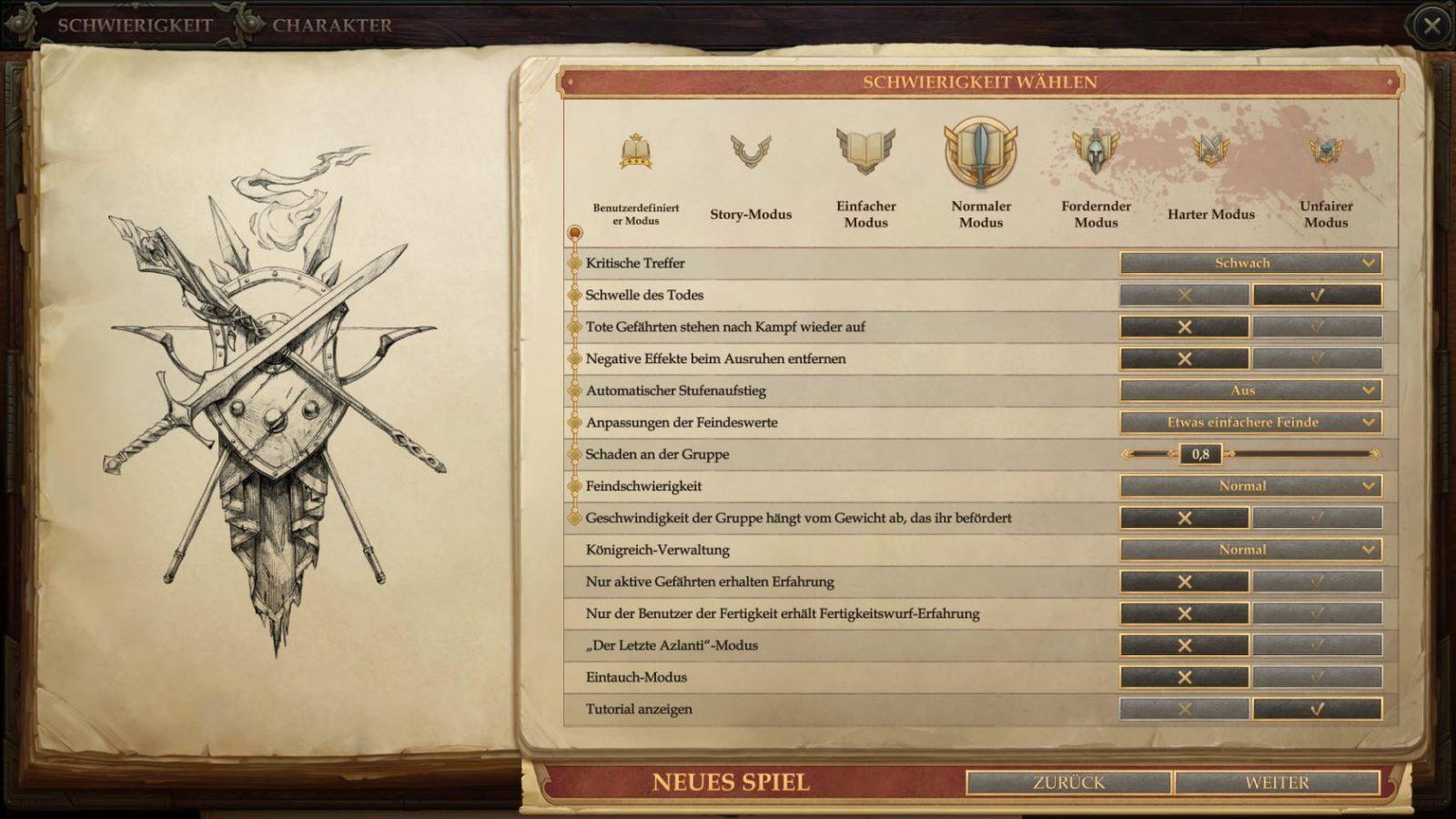 Pathfinder Kingmaker Schwierigkeitsgrad